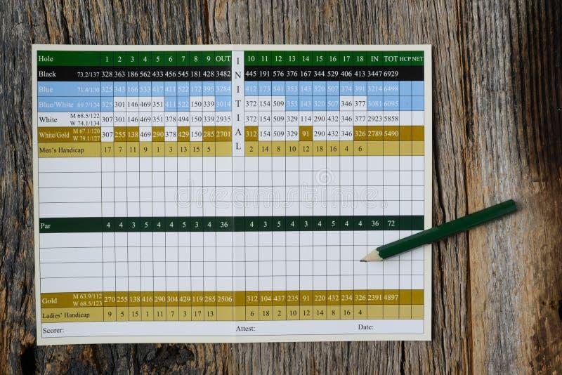 Mellanrum för golfställningkort med inget arkivfoto