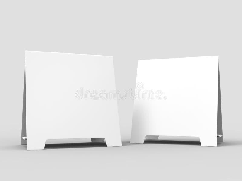 Mellanrum för vit för kort för meny för pratmakare för minnestavlatältkort som befordrings- är tomt för övre design för åtlöje oc stock illustrationer