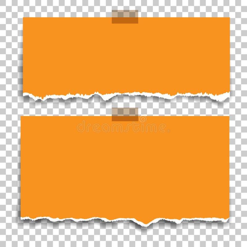 Mellanrum kvadrerad notepadsidor och tejp Klibbade wi för anmärkningspapper vektor illustrationer