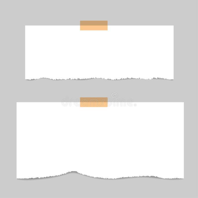 Mellanrum kvadrerat notepadsidor och band Anm?rkningspapper som klibbas med det beigea klibbiga bandet stock illustrationer