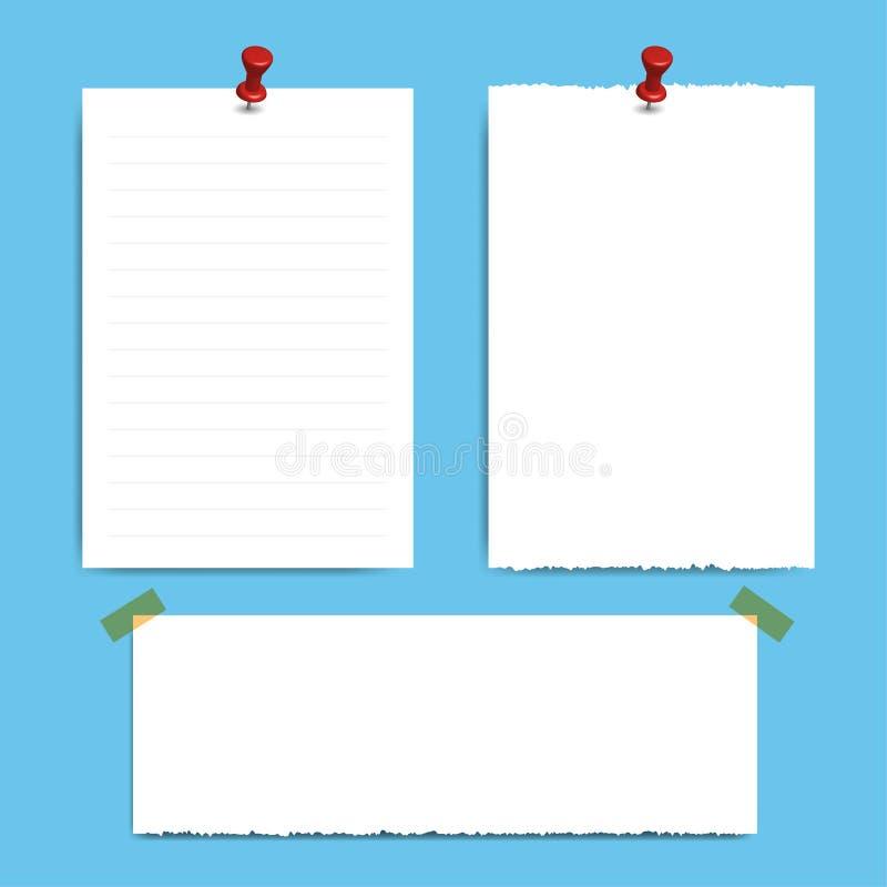 Mellanrum kvadrerat notepadsidor och stift Anmärkningspapper som klibbas med det röda stiftet stock illustrationer