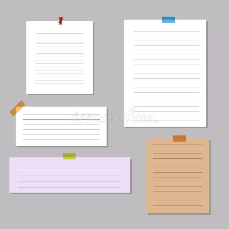Mellanrum kvadrerat notepadsidor och stift Anmärkningspapper som klibbas med stiftet stock illustrationer