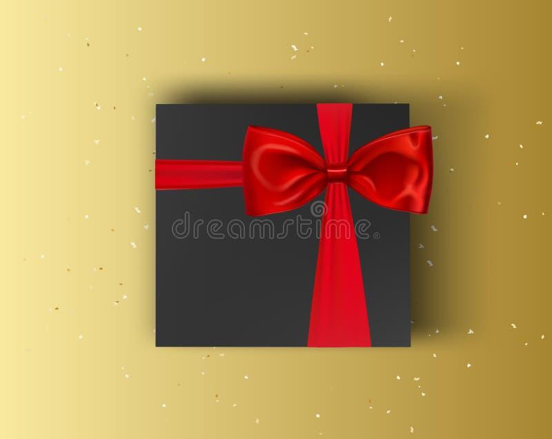 Mellanrum, svart gåvaask med det röda bandet och pilbåge på guld- bakgrund Övre ask för vektoråtlöje royaltyfri illustrationer