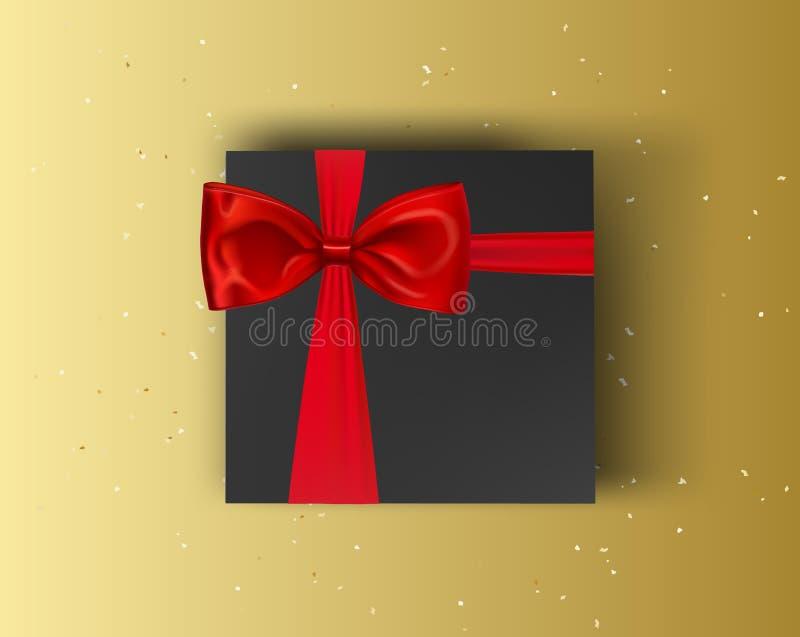 Mellanrum, svart gåvaask med det röda bandet och röd pilbåge på guld- bakgrund Övre ask för vektoråtlöje Ask för åtlöje för bästa stock illustrationer