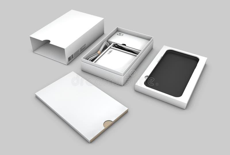 Mellanrumet öppnade askpacken för mobiltelefonen som isolerades på vit bakgrund, illustration royaltyfri illustrationer
