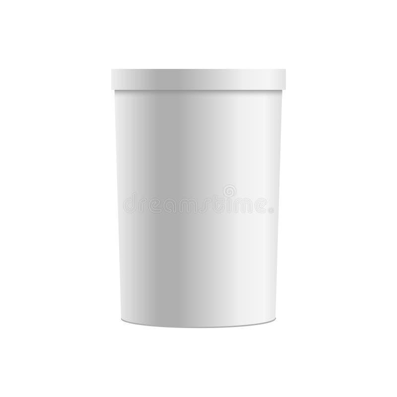 Mellanrumet av plast- badar för efterrätten, yoghurten, glass vektor vektor illustrationer