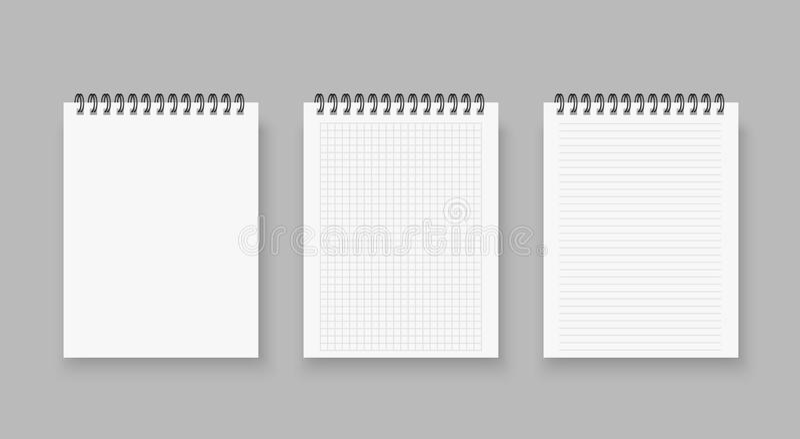 Mellanrumet av realistiska anteckningsböcker fodrade och prickpapperssidan som isolerades på genomskinlig bakgrund luta det spira stock illustrationer