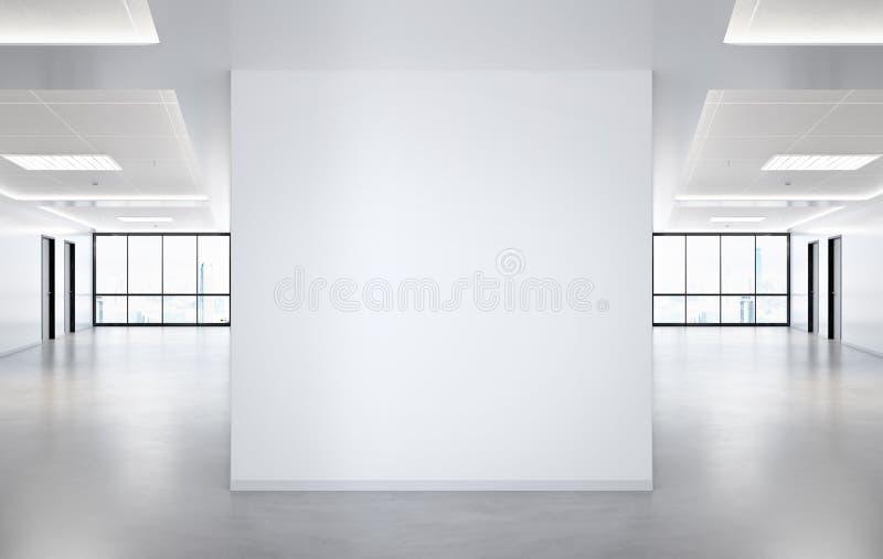 Mellanrumet kvadrerade modellen för väggen i regeringsställning med stora fönster och solen som passerar till och med tolkningen  vektor illustrationer
