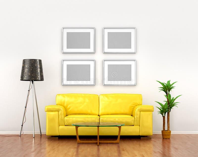 Mellanrumsbilder på den vita väggen väger över den gula soffan royaltyfri illustrationer