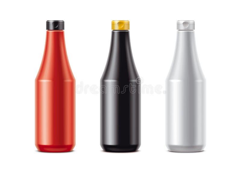 Mellanrumsflaskor för såser stock illustrationer