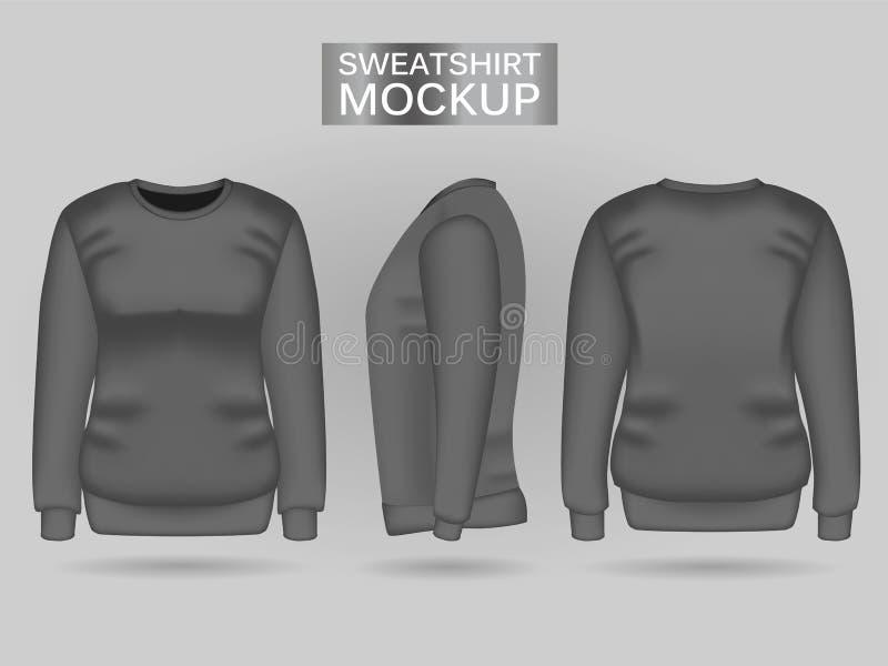 Mellanrumskvinnors gråa tröja framme, baksida- och sidosikter Realistisk kvinnlig kläder för sport och stads- stil royaltyfri illustrationer