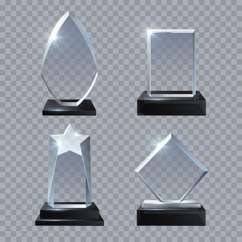 Mellanrumstrofén för Crystal exponeringsglas tilldelar vektormallsamlingen vektor illustrationer