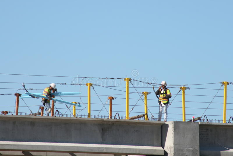 Mellanstatlig konstruktion för bro 69 nära Houston, Texas fotografering för bildbyråer