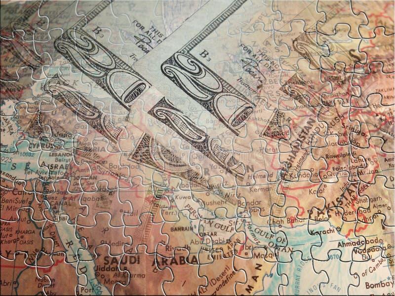 Mellersta öst- och valutapussel stock illustrationer