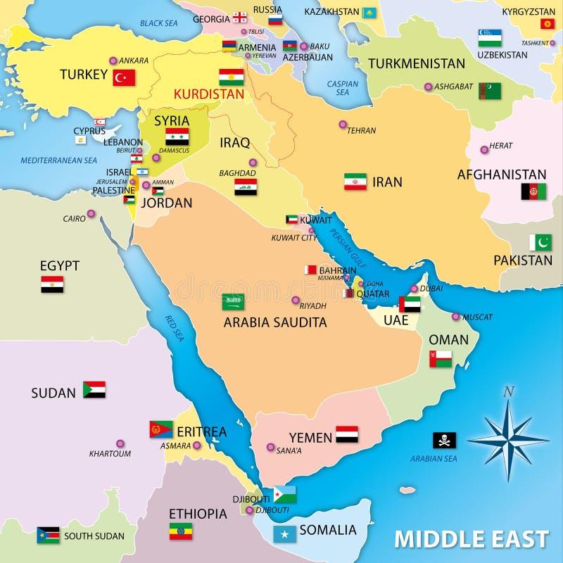 Mellersta östlig översikt med flaggor stock illustrationer