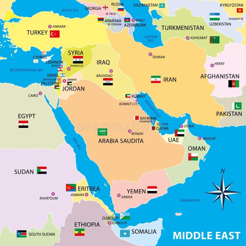 Mellersta östlig översikt med gränser och flaggor vektor illustrationer