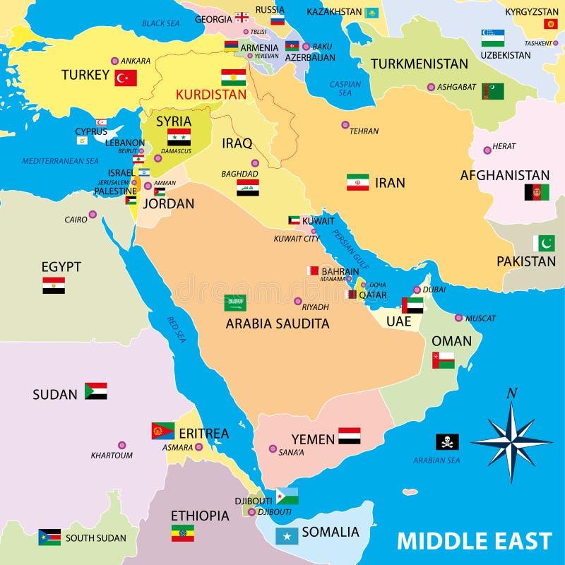 Mellersta östlig översikt med gränser och flaggor royaltyfri illustrationer