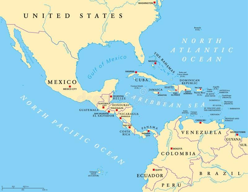 Mellersta Amerika politisk översikt royaltyfri illustrationer