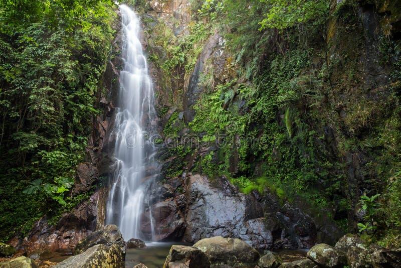 Mellersta nedgång av Ngen Tung Chai Waterfalls i Hong Kong arkivbild