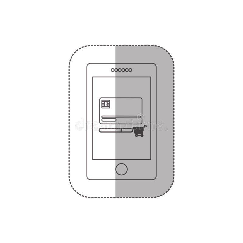 Mellersta skuggaklistermärke för gråton med minnestavlan med kreditkorten och shoppingvagnen royaltyfri illustrationer