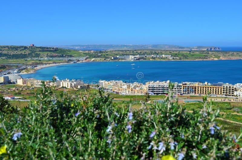 mellieha malta залива стоковая фотография rf