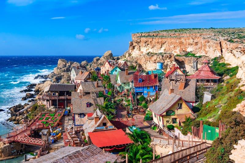 Mellieha, Malta: Pueblo de Popeye, detalle arquitectónico foto de archivo libre de regalías