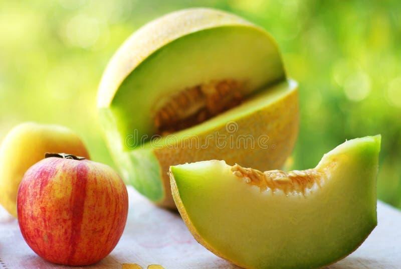 Mellon e pêssego maduros. imagens de stock