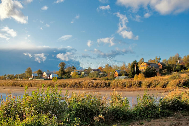 Mellow autumn on river stock photography