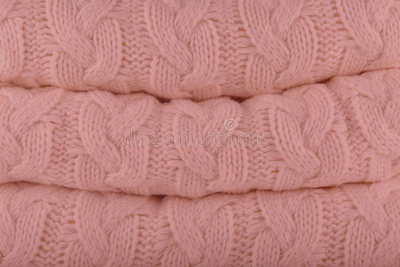 Mellow Rose Pantone fashion colors autumn-winter 2018-2019 knits. Pile. Warm cozy home and fashion colors concept. Horizontal stock images