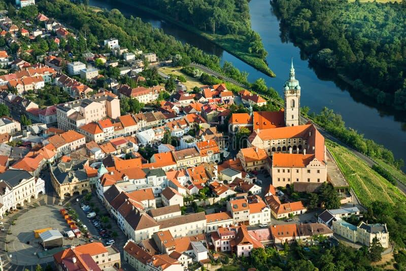 Melnik Stadt - Fliegenfoto stockbilder