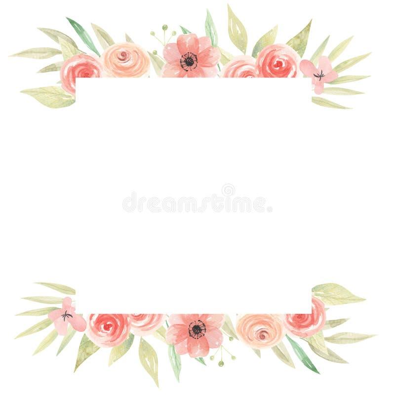 Melocotón cuadrado Coral Floral Frame Leaves de las flores de la acuarela libre illustration