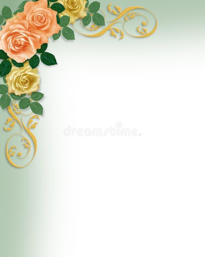 Melocotón de la invitación de la boda del modelo de las rosas stock de ilustración