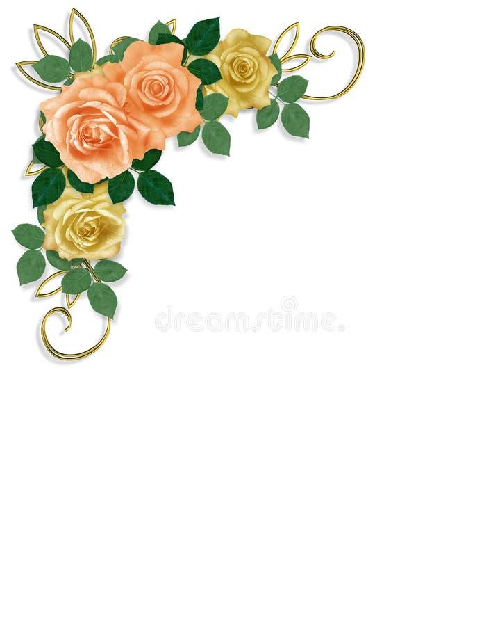 Melocotón de la invitación de la boda del modelo de las rosas libre illustration