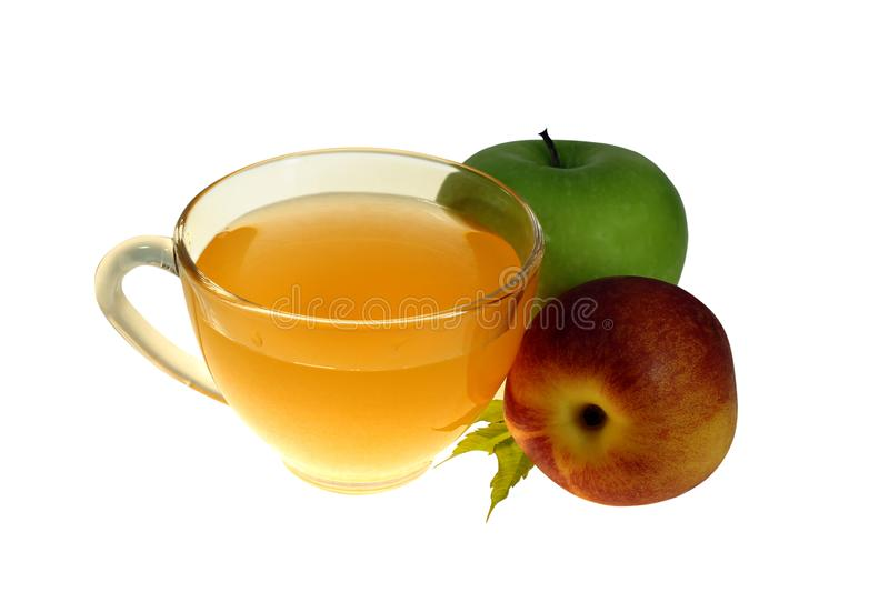 Melocotón fresco, manzana, jugo de fruta, aislado en el fondo blanco bajo poda, consumición sana vegetariana, trayectoria de reco fotografía de archivo