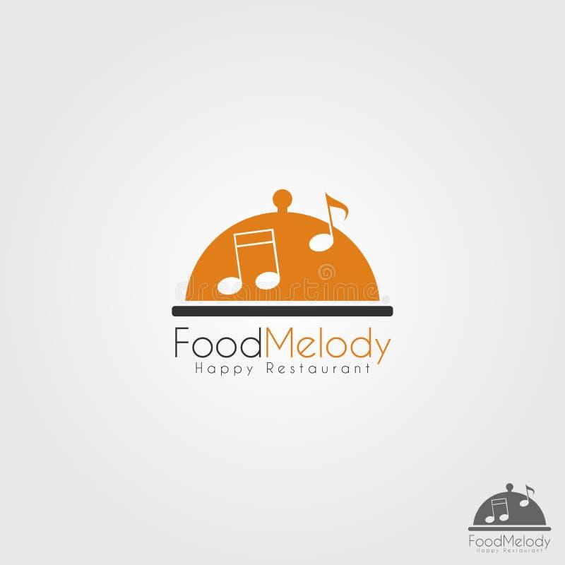 Melodía de la comida - logotipo feliz del restaurante de la música ilustración del vector