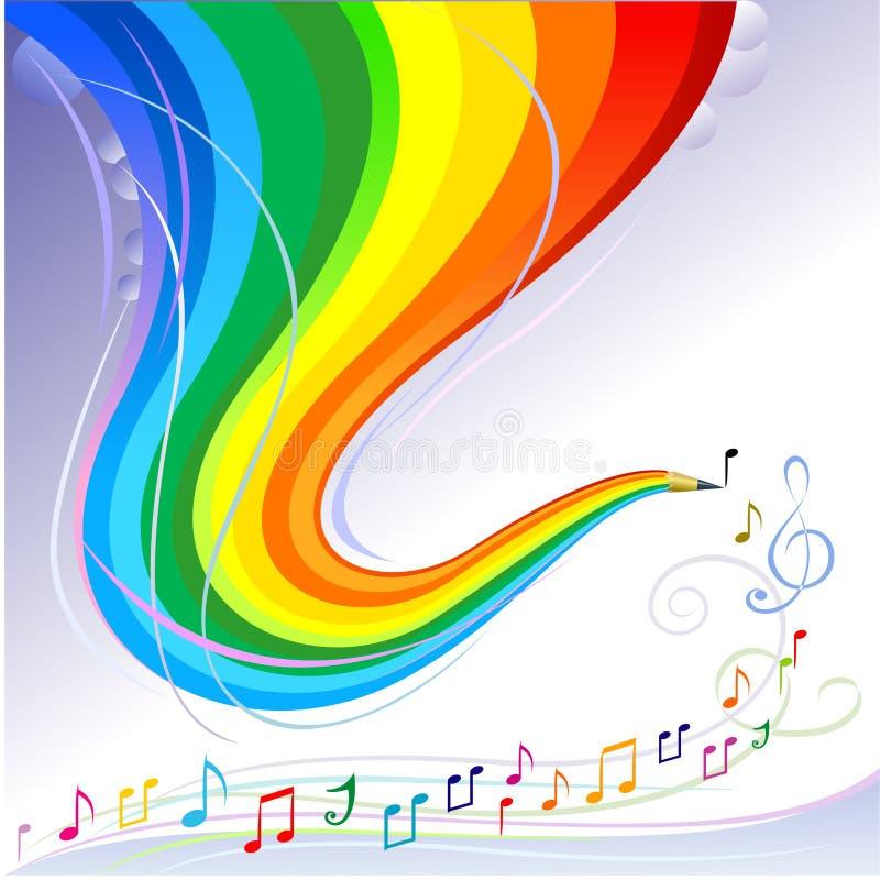 Melodía de la música - serie abstracta del lápiz del arco iris libre illustration