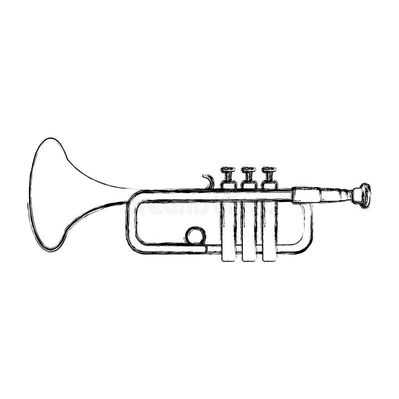 Melodia artistica dello strumento della tromba di musica di lerciume illustrazione vettoriale
