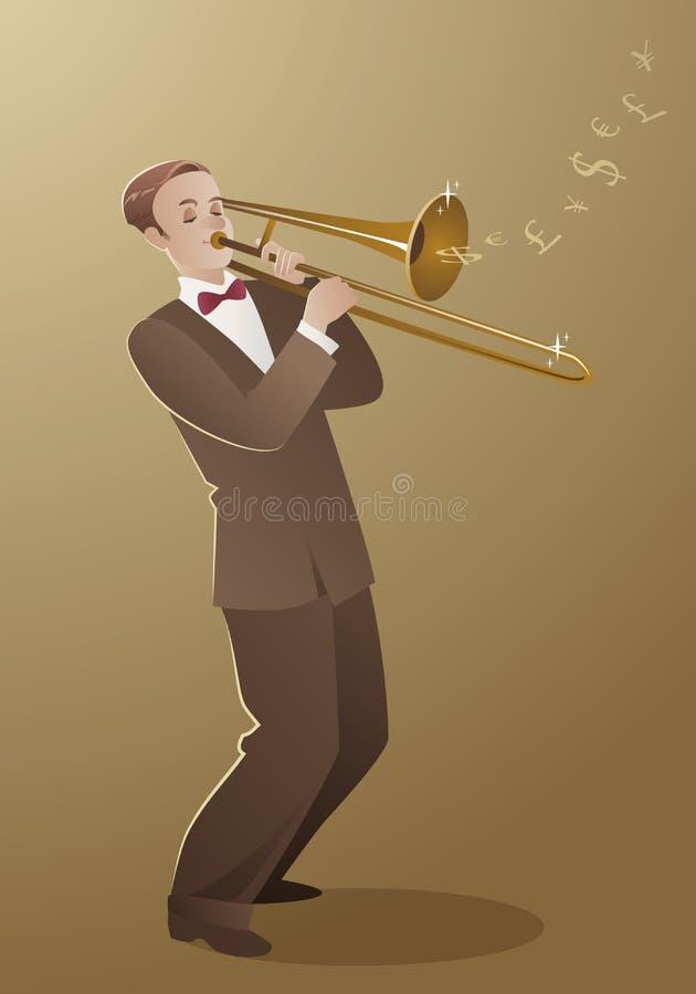 Melodia do dinheiro Jogador de trombone que joga uma música que isso soa como o mo ilustração do vetor