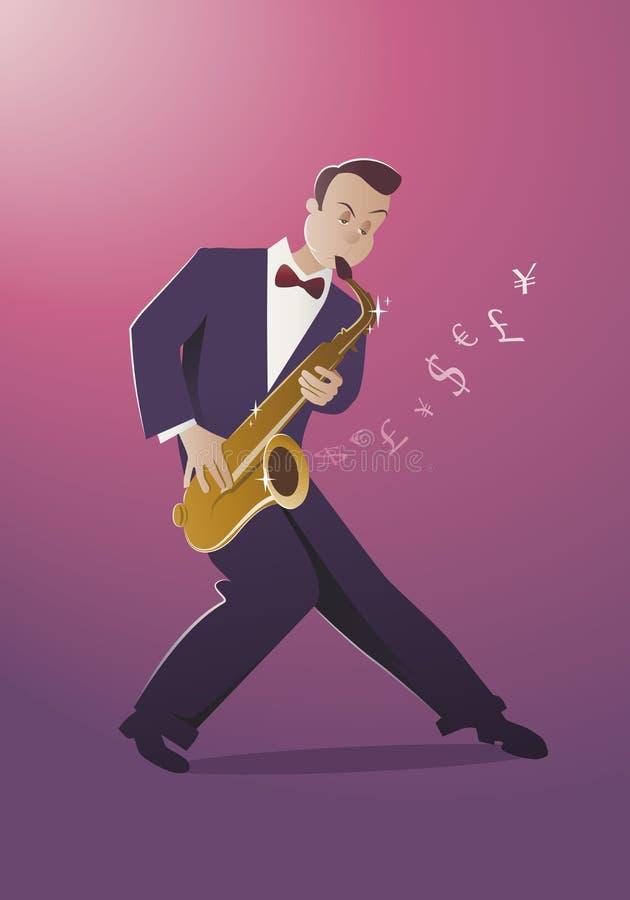 Melodia do dinheiro Saxofonista que joga uma música que isso soa como o dinheiro ilustração do vetor