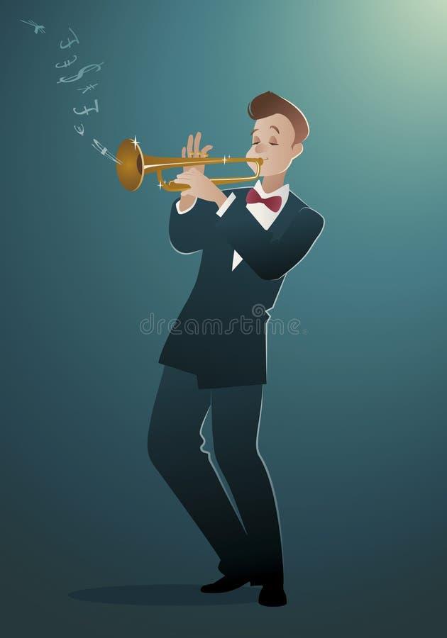 Melodia do dinheiro Trompetista que joga uma música que isso soa como o dinheiro ilustração royalty free