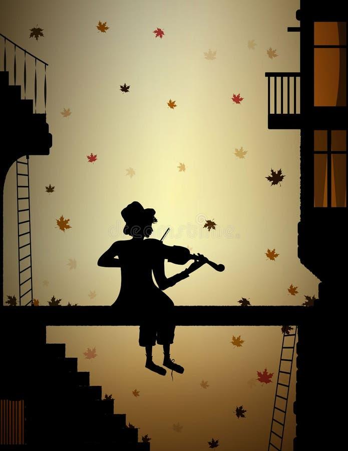 A melodia do outono, as folhas coloridas que caem e o menino pobre jogam violine na cidade velha, ilustração royalty free
