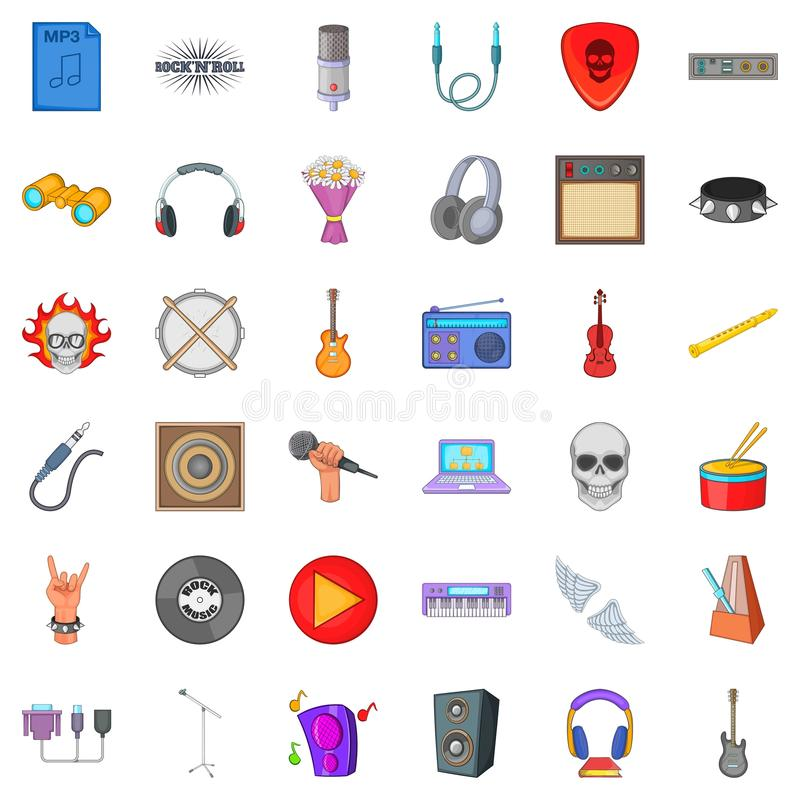 Melodic icons set, cartoon style. Melodic icons set. Cartoon set of 36 melodic vector icons for web isolated on white background stock illustration