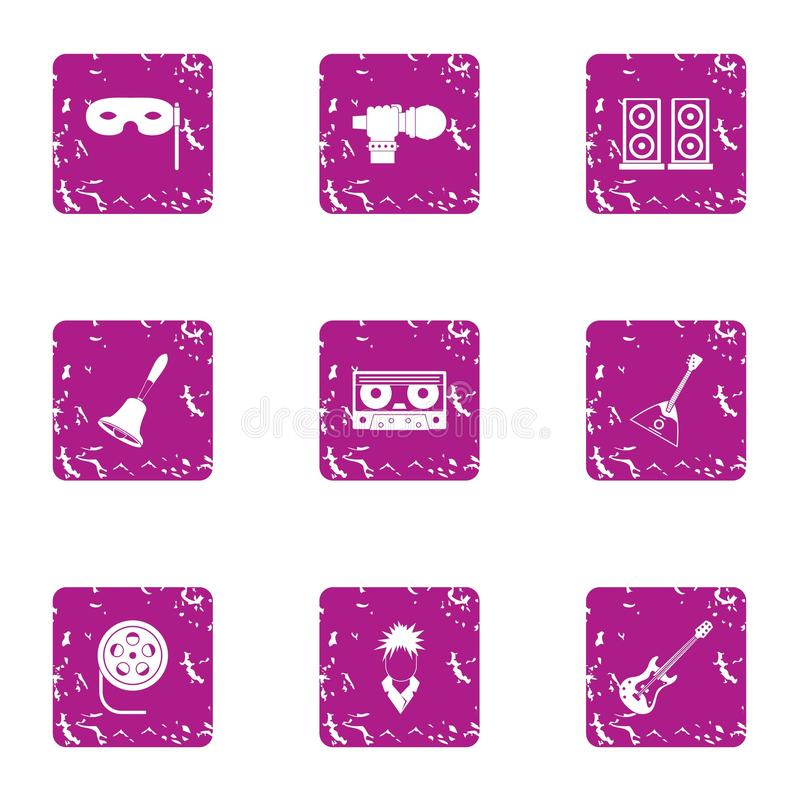 Melodic icons set, grunge style. Melodic icons set. Grunge set of 9 melodic vector icons for web isolated on white background royalty free illustration