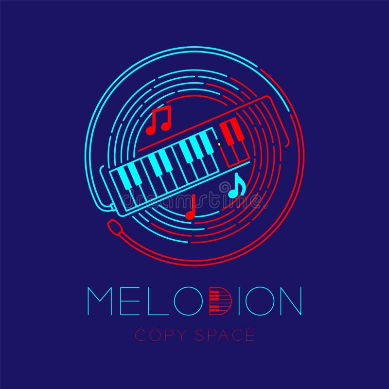 Melodion, muzyki notatka z linia personelu okręgu kształta logo ikony konturu uderzenia junakowania linii projekta ustaloną ilust royalty ilustracja