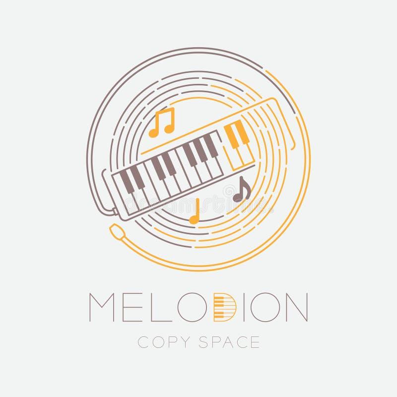 Melodion, muzyki notatka z linia personelu okręgu kształta logo ikony konturu uderzenia junakowania linii projekta ustaloną ilust ilustracji