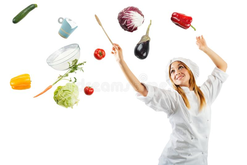 Melody in cooking. With a beautiful chef stock images