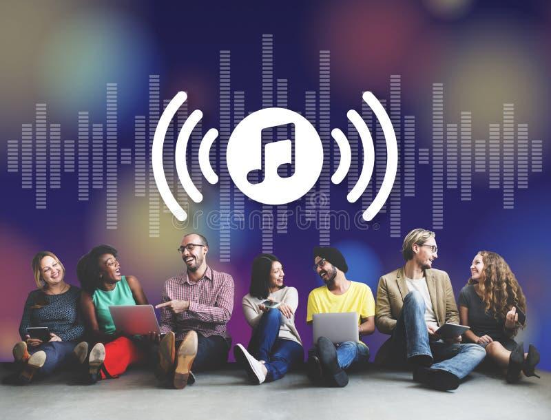 Melody Music Wireless Sound Technology-Konzept lizenzfreie abbildung