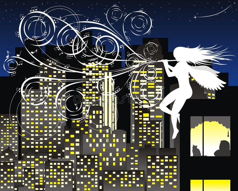 Melody of the night. Charming night fluting charming angel stock illustration