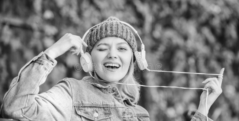 Melody sound and mp3. Music fan concept. Headphones must have modern gadget. Enjoy powerful sound. Feeling awesome. Cool. Funky girl enjoy music in headphones stock photos