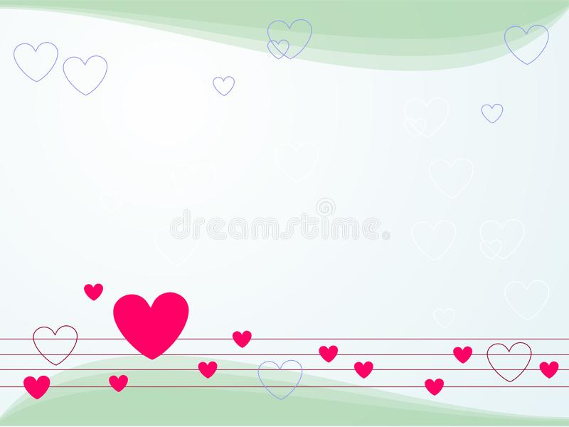A melody of spring background, blue, teal. Light blue backdrop with hearts. vector illustration